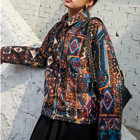 Turn-down collar print loose jackets