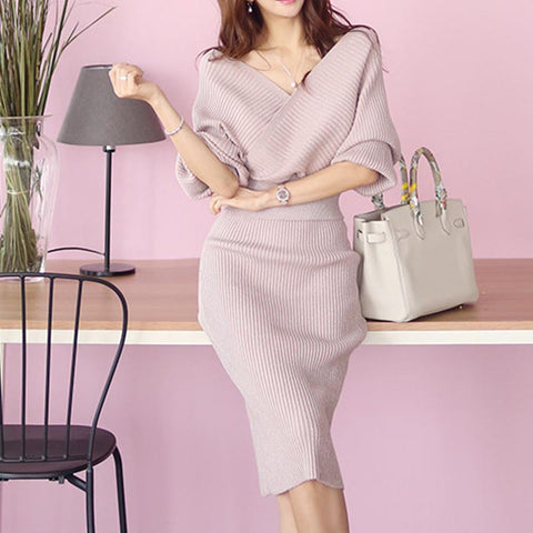 Elegant bat sleeve bodycon skirt suits
