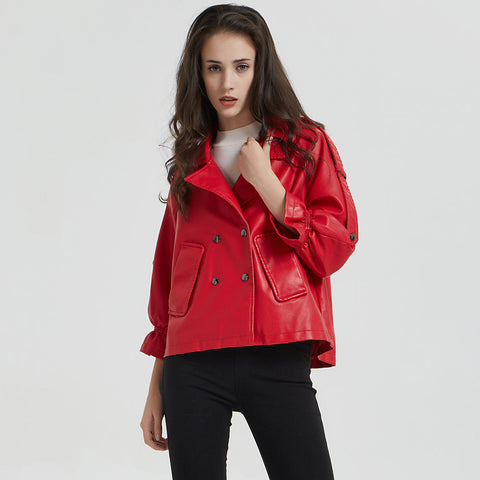 Flare sleeve double-breasted leather jackets - Fancyever