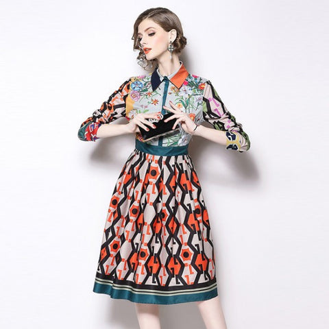 Vintage print turn down collar empire waist dresses-Fancyever