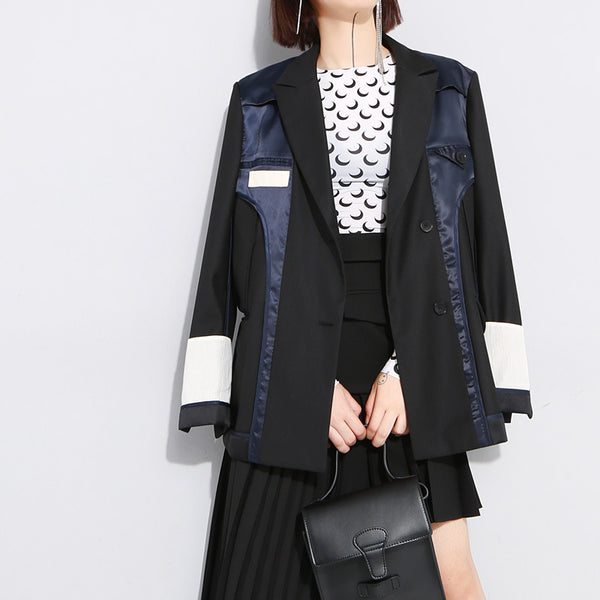 Large lapel patchwork blazers