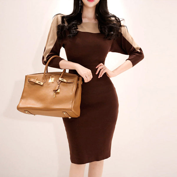 Color block knee length sheath dresses