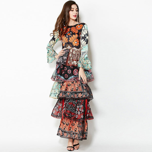 Print flare sleeve layered maxi dresses