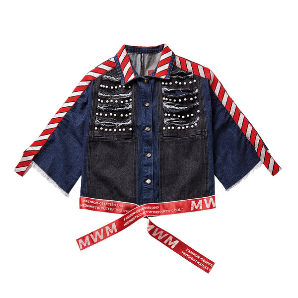 Denim patchwork beaded ribbed jackets - Fancyever