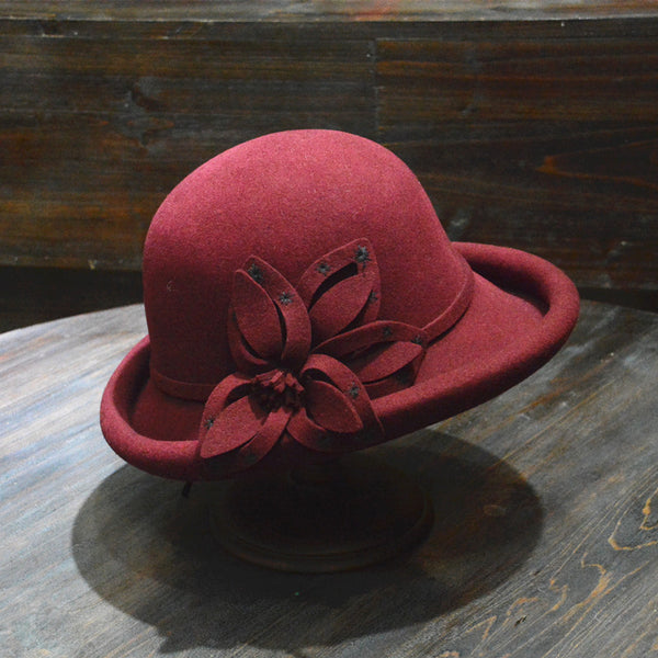 Embroidered flower wide brim bowler hats