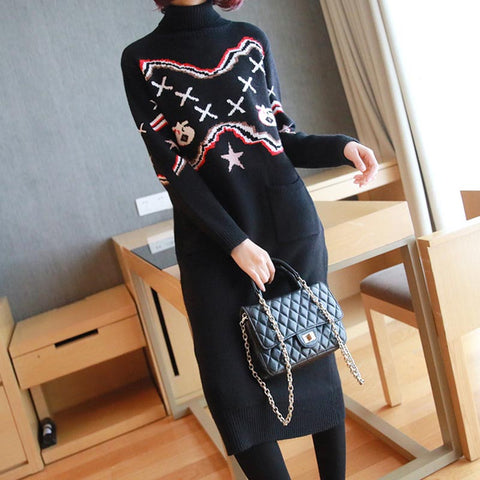 Turtleneck thick pullover knitted shift dresses