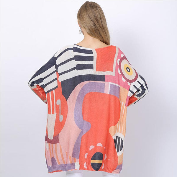 Plus size print loose sweaters - Fancyever