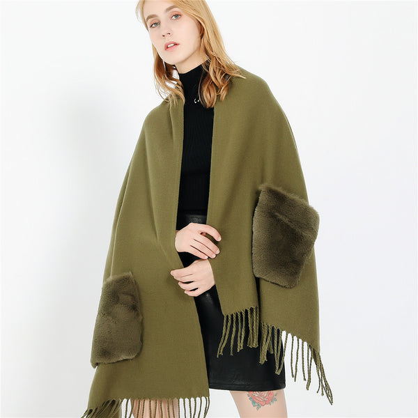 Solid color shawls scarves with pockets