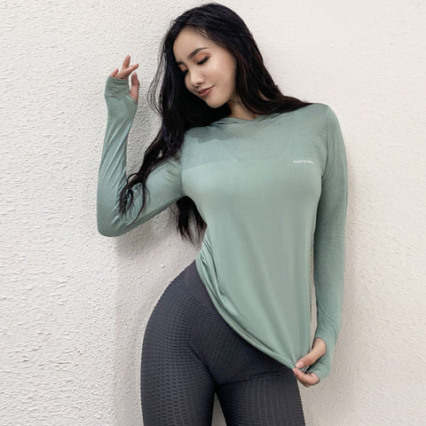 Hooded long sleeve active tops with thumb hole