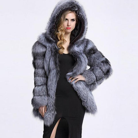 Hooded fluffy faux fur coats