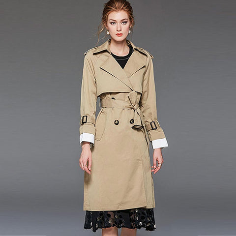 Turn-down collar patchwork belted trench coats