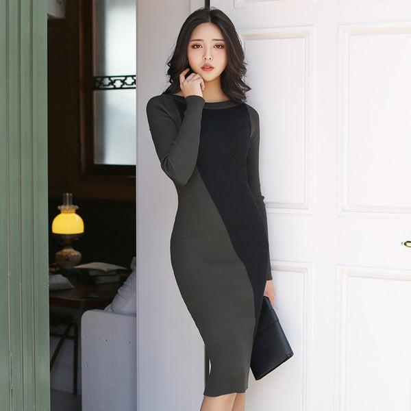 Color block long sleeve sweater dresses