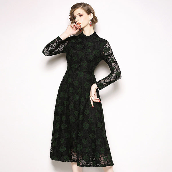 Long sleeve lace openwork midi dresses