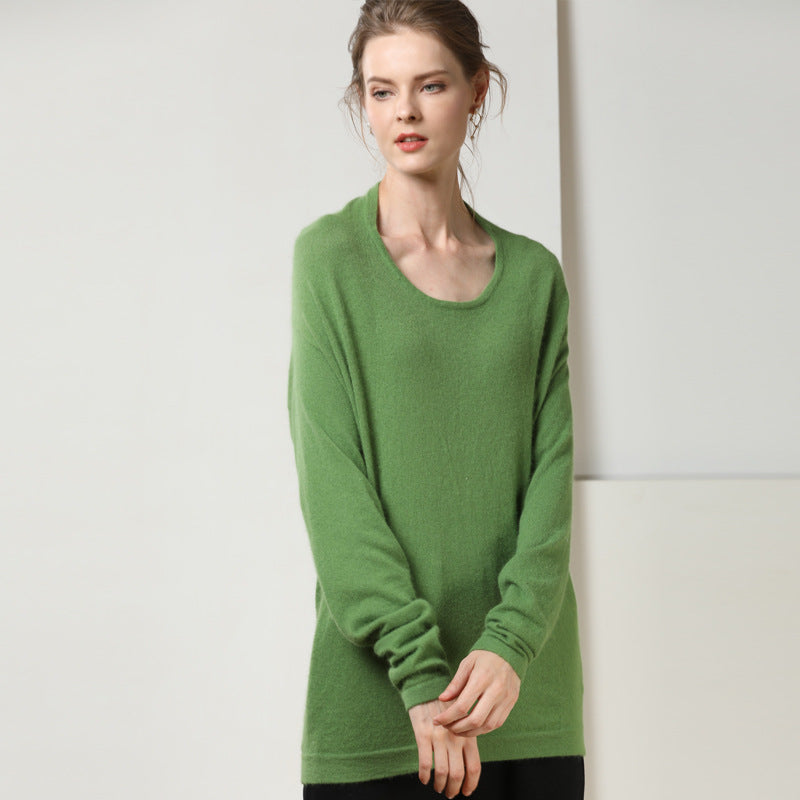 Scoop neck fine-knit sweaters - Fancyever