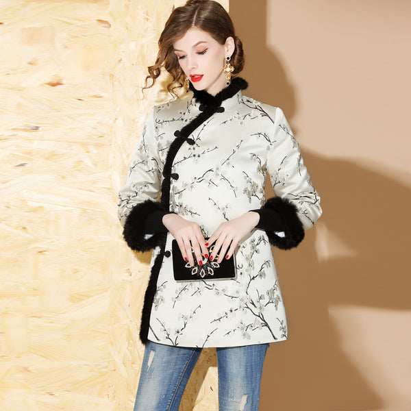 Jacquard fur collar quilted coats - Fancyever