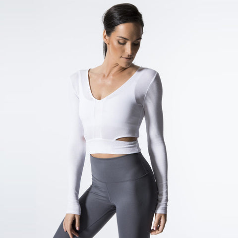 O-neck openwork active tops