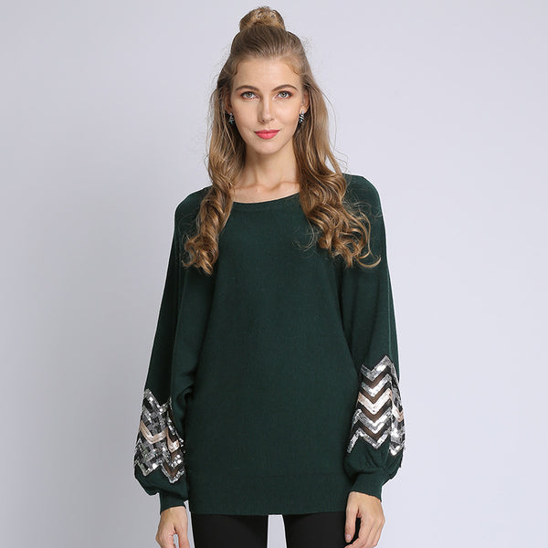 Crew neck sequin patchwork sweaters - Fancyever