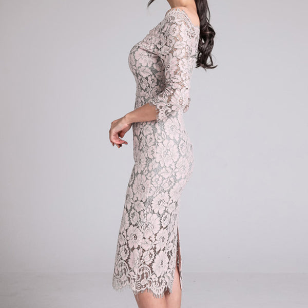 Off-the-shoulder lace sheath dresses - Fancyever