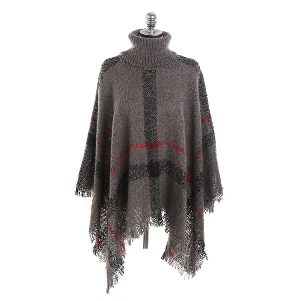 Pullover plaid ponchos - Fancyever