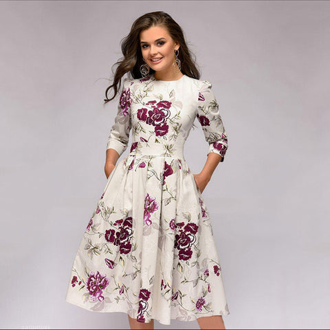 Pleated 3/4 sleeve floral dresses - Fancyever