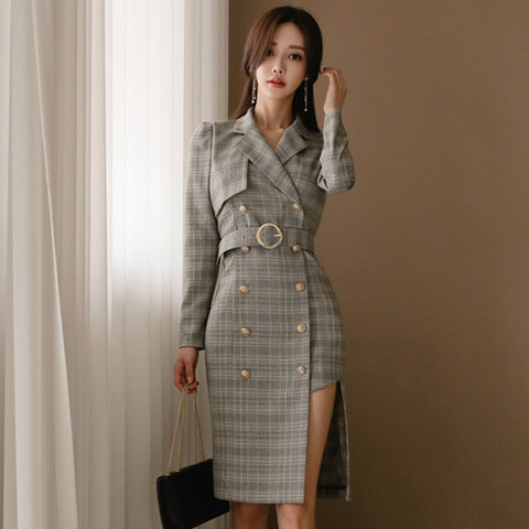 Lapel plaid double breasted elegant blazer shift dresses