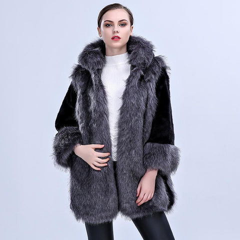 Hooded colorblock faux fur coats - Fancyever