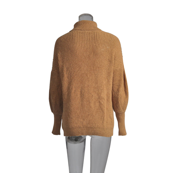 Turtleneck lantern sleeve sweaters