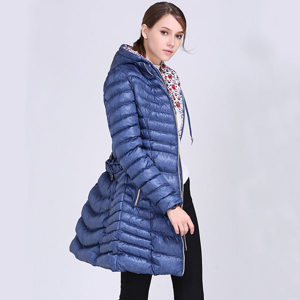 High shine hooded belted puffer coats