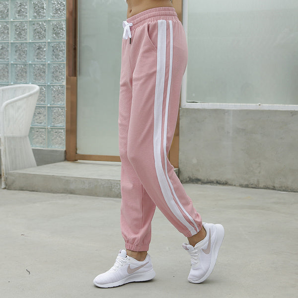Striped elastic waist drawcord running workout sport joggers