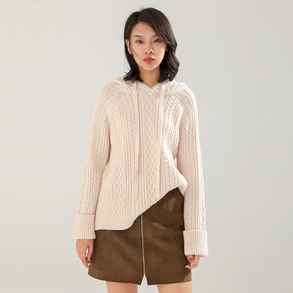 Hooded cable-knit loose sweaters - Fancyever