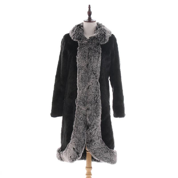 Black patchwork faux fur coats - Fancyever
