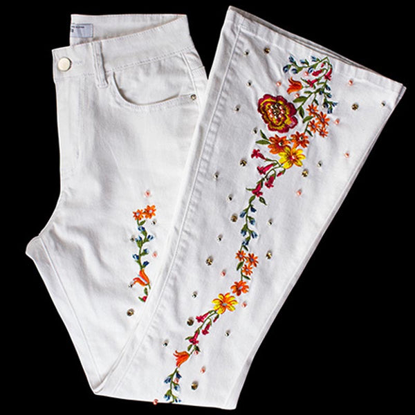 Cotton embroidered slim flare pants