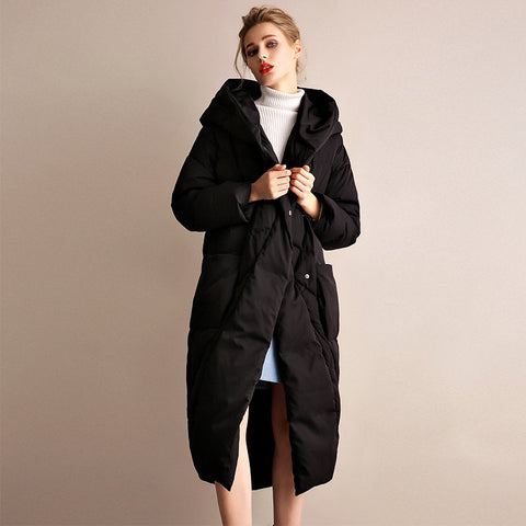 Asymmetric puffer down coats with pockets