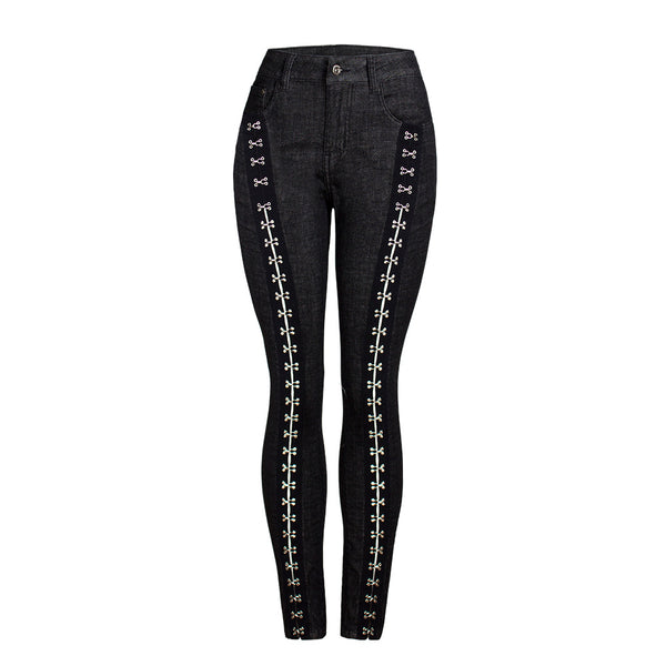 Metal decoration skinny denim pants