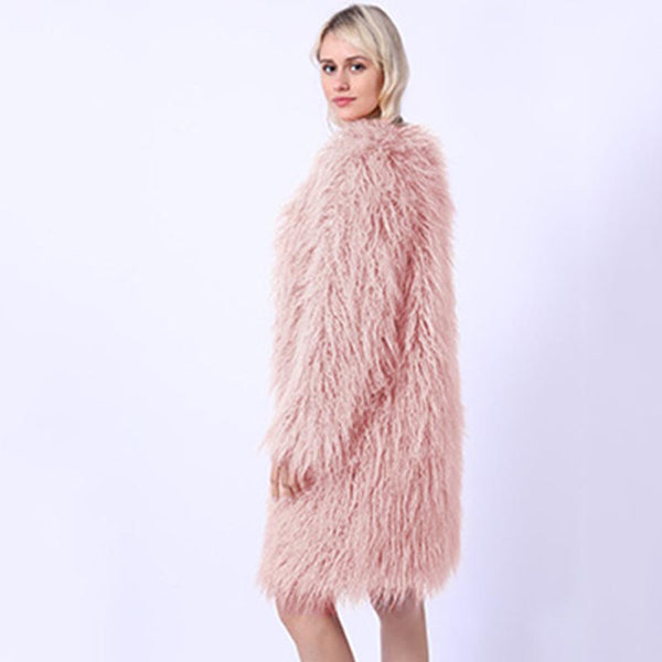 V-neck long faux fur coats - Fancyever