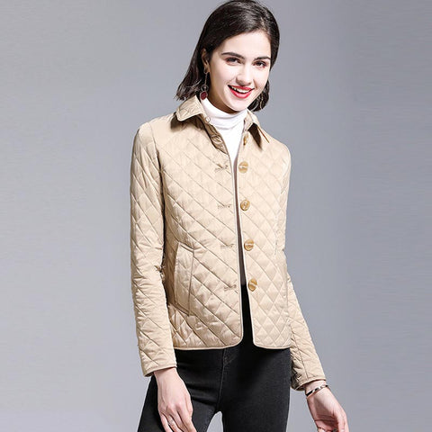 Diamond lapel quilted short coats