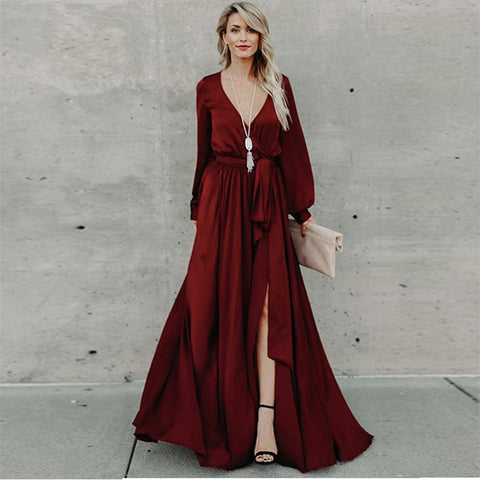 V-neck wrap split maxi dresses