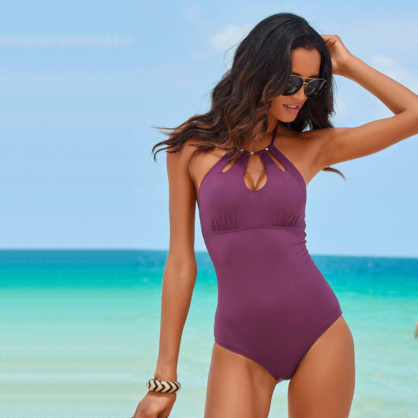 Halter keyhold backless one-piece swimwear