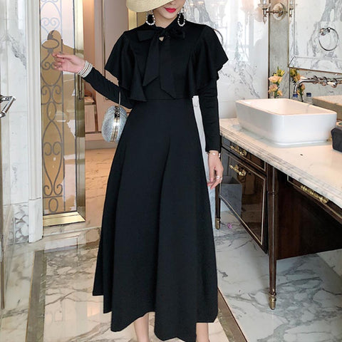 Mock neck shawl long sleeve midi dresses