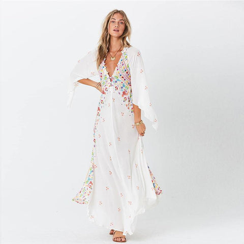 Bohemian 3/4 Sleeve embroidered dresses - Fancyever