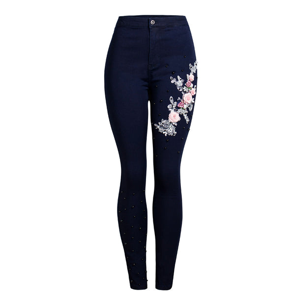 Stereoscopic flower beaded skinny denim pants