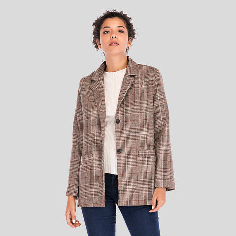 Check single-breasted straight blazers