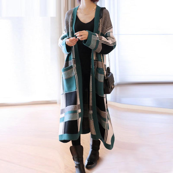 Plaid open front sweater coats