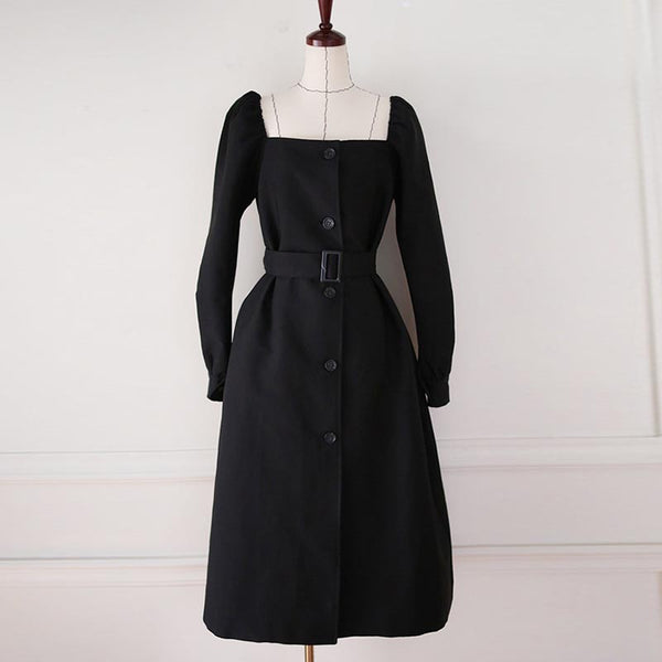 Square neck puff sleeve coat dresses