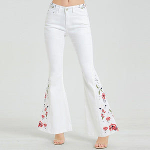 Embroidered high waisted flare pants