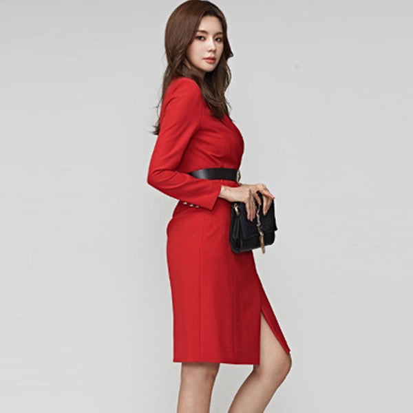 Turn-down collar belted slit sheath dresses