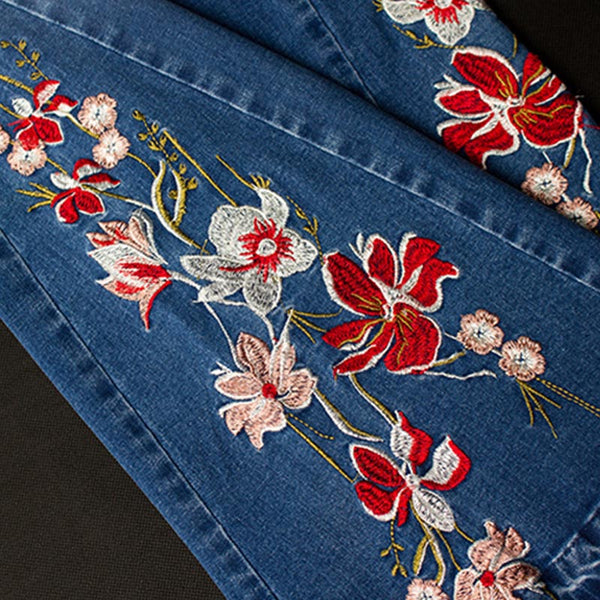 Denim embroidered rough selvedge flare pants