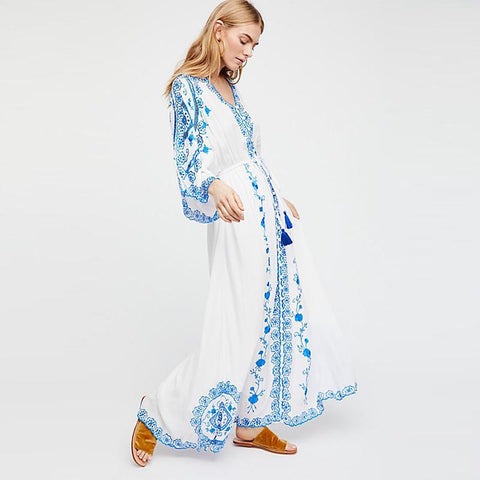 Bohemia embroidered v-neck maxi dresses