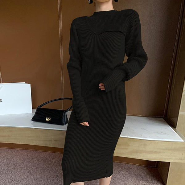 Long sleeve openwork sweater dresses