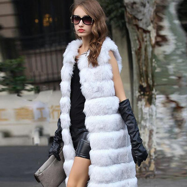 Faux fur long vest coats - Fancyever